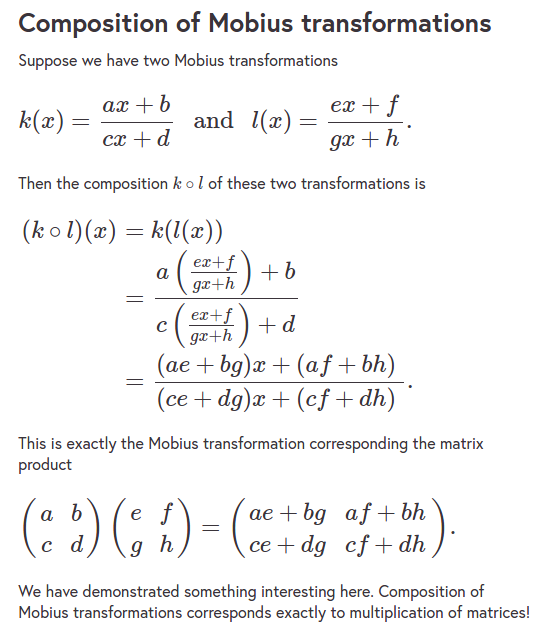 mobius and matrices